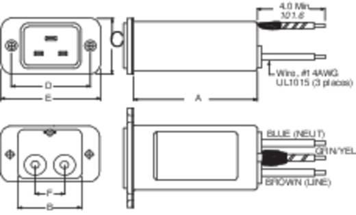 Netzfilter mit Kaltgerätebuchse 250 V/AC 16 A 0.306 mH TE Connectivity 20EEJ8 1 St.