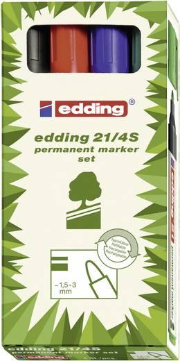 Permanent-Marker EcoLine Edding E21/4 Schwarz, Rot, Blau, Grün Rundform 1.5 - 3 mm 4 St.