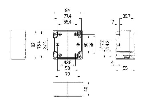 Installations-Gehäuse 84 x 82 x 55 Polycarbonat Licht-Grau (RAL 7035) Spelsberg TG PC 88-6-to 1 St.