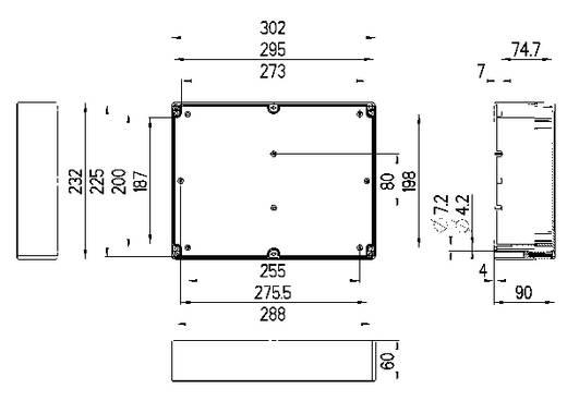 Installations-Gehäuse 302 x 232 x 90 Polycarbonat Licht-Grau (RAL 7035) Spelsberg TG PC 3023-9-to 1 St.