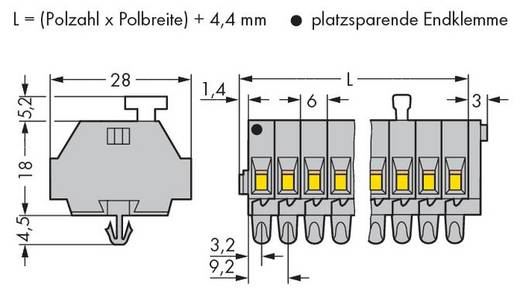 Klemmenleiste 6 mm Zugfeder Belegung: L Grau WAGO 261-162/331-000 25 St.