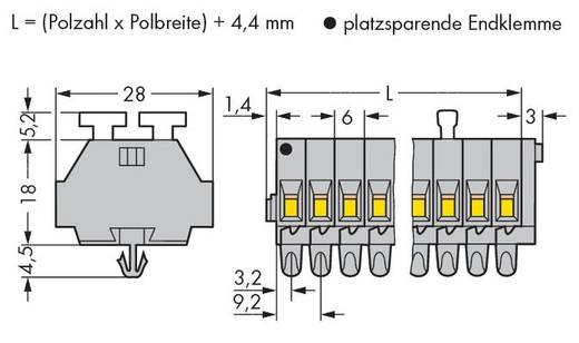 Klemmenleiste 6 mm Zugfeder Belegung: L Grau WAGO 261-160/341-000 25 St.