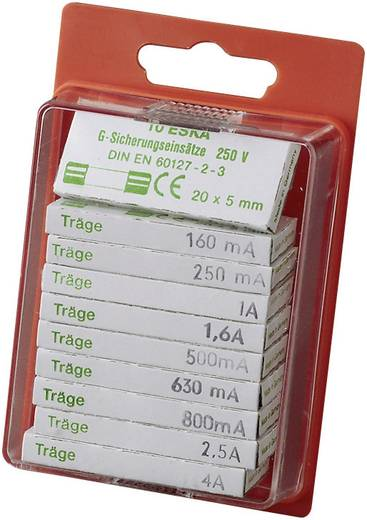 Feinsicherung-Sortiment (Ø x L) 5 mm x 20 mm Träge -T- ESKA SICH.-SORT. TRAEGE Inhalt 100 St.