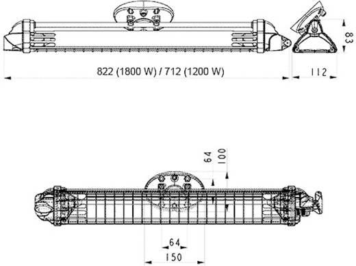 Halogen-IR-Strahler 1800 W 9 m² Schwarz Mo-el FIORE 1800