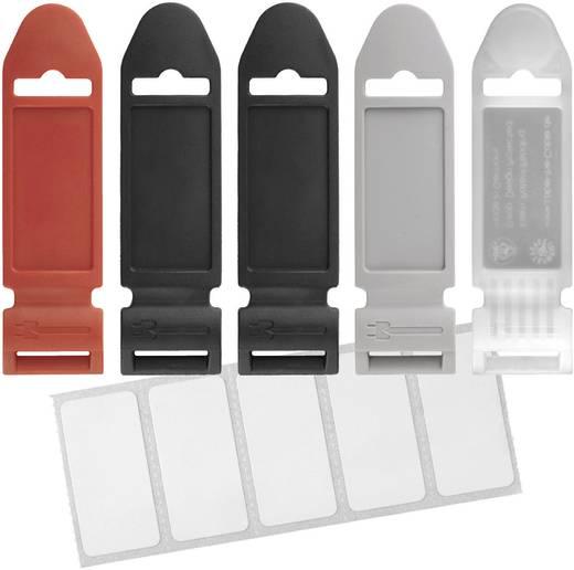 Klett-Beschriftungsfelder zum Kennzeichnen Schwarz, Rot, Grau, Transparent Label the Cable 2751 5 St.