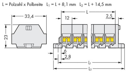 Klemmenleiste 12 mm Zugfeder Belegung: L Grau WAGO 262-237 50 St.