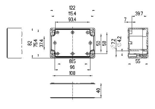 Installations-Gehäuse 122 x 82 x 55 Polycarbonat Licht-Grau (RAL 7035) Spelsberg TG PC 1208-6-to 1 St.