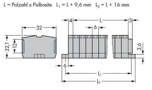 Klemmenleiste 6 mm Zugfeder Belegung: L Grau WAGO 264-109 50 St.