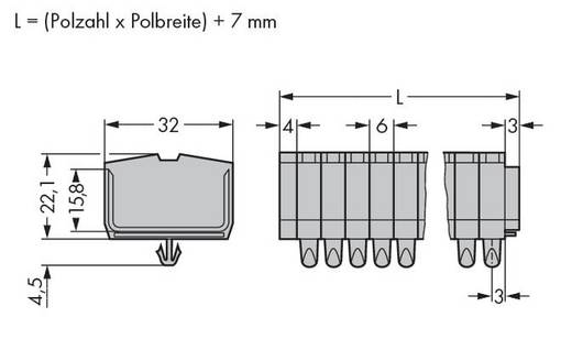 Klemmenleiste 6 mm Zugfeder Belegung: L Grau WAGO 264-161 25 St.