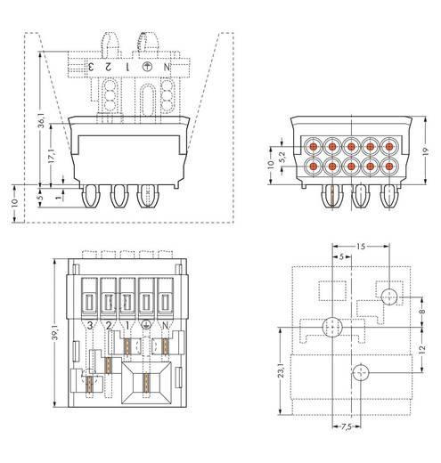 Verbindungsklemme starr: 1.5-2.5 mm² Polzahl: 4 WAGO 50 St. Weiß