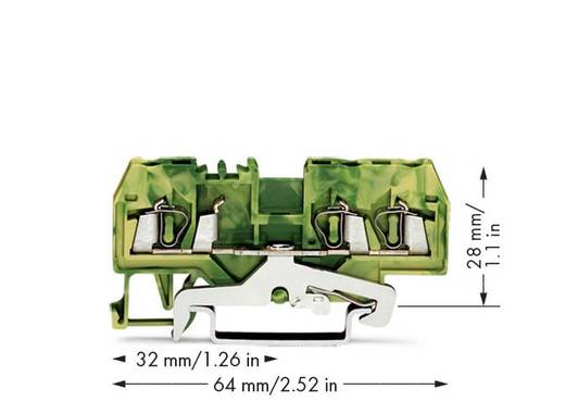 Schutzleiterklemme 5 mm Zugfeder Belegung: PE Grün-Gelb WAGO 280-687 100 St.
