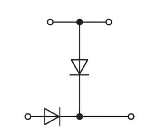 Doppelstock-Diodenklemme 5 mm Zugfeder Belegung: L Grau WAGO 280-941/281-492 50 St.