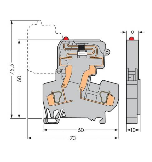 Sicherungsklemme 10 mm Zugfeder Belegung: L Grau WAGO 281-613/281-542 50 St.