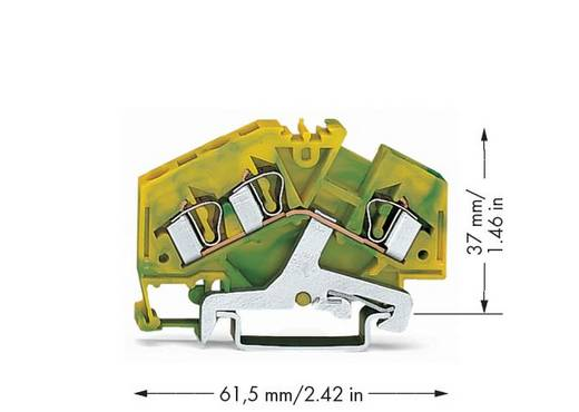 Schutzleiterklemme 6 mm Zugfeder Belegung: PE Grün-Gelb WAGO 281-637/999-950 100 St.