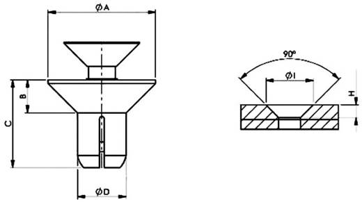 Spreizniete Loch-Ø 4.2 mm Schwarz PB Fastener SRCS-4080B 1 St.