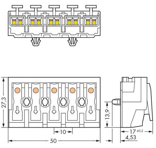 Netzanschlussklemme starr: 0.5-1.5 mm² Polzahl: 5 WAGO 294-4055 250 St. Weiß