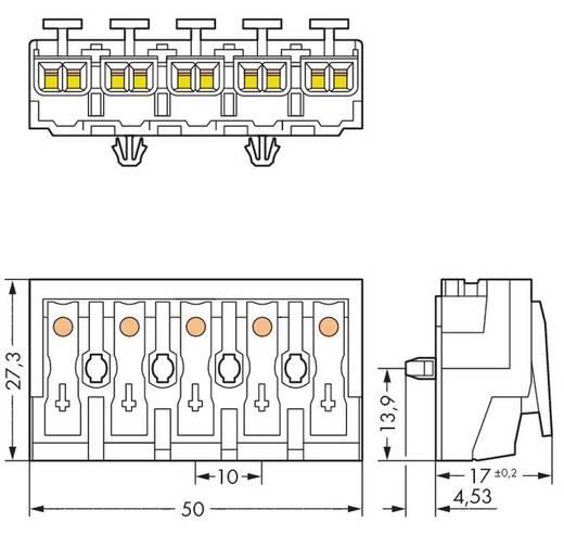 Netzanschlussklemme starr: 0.5-1.5 mm² Polzahl: 5 WAGO 294-5045 250 St. Weiß
