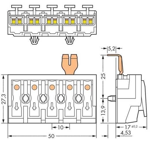 Netzanschlussklemme starr: 0.5-1.5 mm² Polzahl: 5 WAGO 294-4235 250 St. Weiß