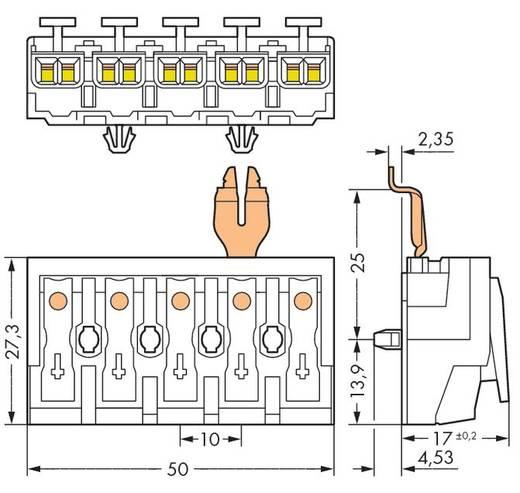 Netzanschlussklemme starr: 0.5-1.5 mm² Polzahl: 5 WAGO 294-5335 250 St. Weiß