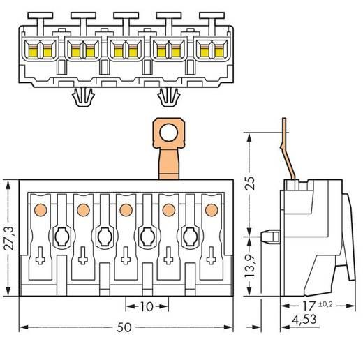 Netzanschlussklemme starr: 0.5-1.5 mm² Polzahl: 5 WAGO 294-4435 250 St. Weiß