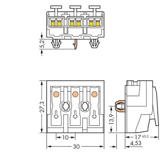 Netzanschlussklemme starr: 0.5-1.5 mm² Polzahl: 3 WAGO 294-5153 500 St. Weiß