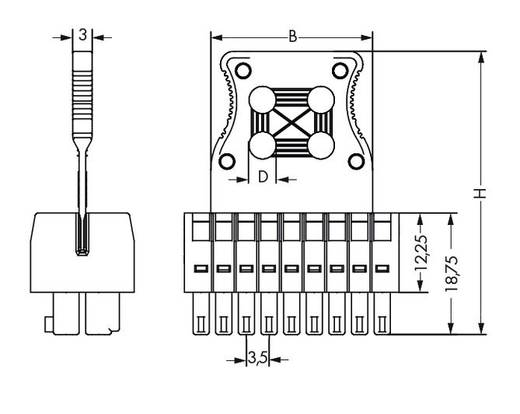 WAGO Buchsengehäuse-Kabel 713 Polzahl Gesamt 20 Rastermaß: 3.50 mm 713-1110/037-047/033-000 50 St.