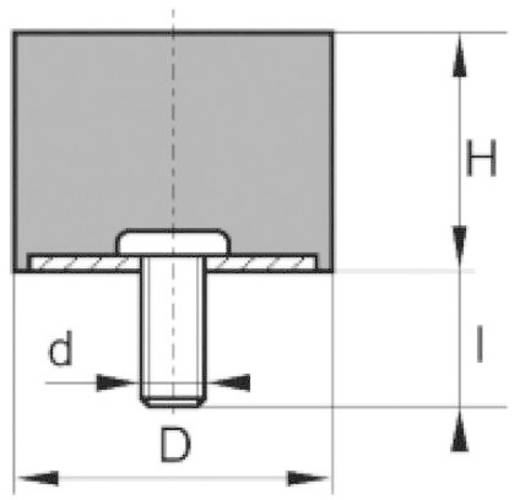 Anschlagpuffer zylindrisch Schwarz (Ø x H) 15 mm x 15 mm PB Fastener 110718 1 St.