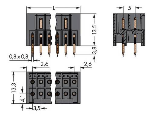 WAGO Stiftleiste (Standard) 1735 Polzahl Gesamt 32 Rastermaß: 3.50 mm 713-1416 20 St.