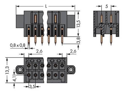 WAGO Stiftleiste (Standard) 1735 Polzahl Gesamt 10 Rastermaß: 3.50 mm 713-1405/107-000 25 St.