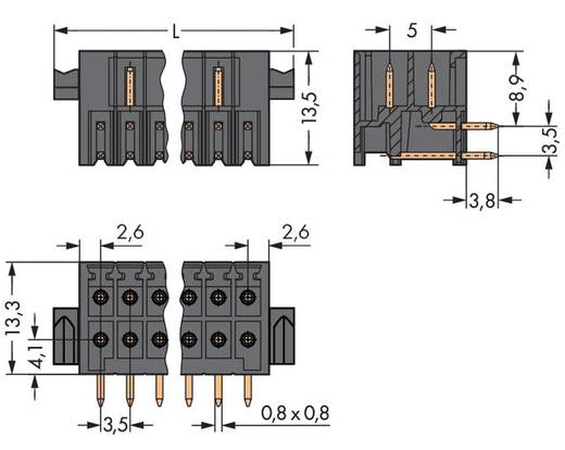 WAGO Stiftleiste (Standard) 1735 Polzahl Gesamt 26 Rastermaß: 3.50 mm 713-1433/037-000 20 St.