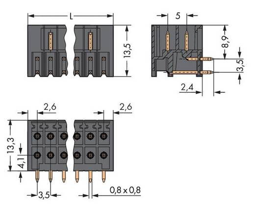 WAGO 713-1425/105-000 Stiftleiste (Standard) 1735 Polzahl Gesamt 10 Rastermaß: 3.50 mm 50 St.