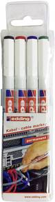 Marqueur de câble Edding 4-8407-4 noir, rouge, bleu, vert forme ronde 0.3 mm (max) 4 pc(s)