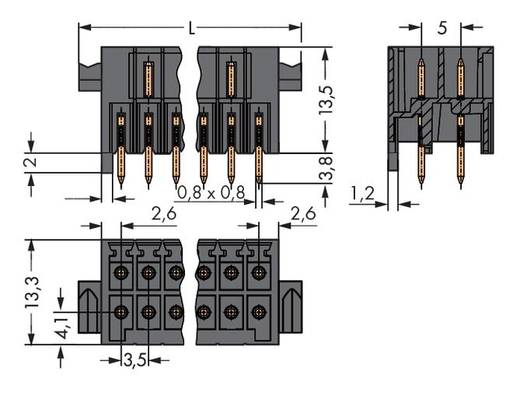 WAGO Stiftleiste (Standard) 1735 Polzahl Gesamt 12 Rastermaß: 3.50 mm 713-1466/037-000 50 St.