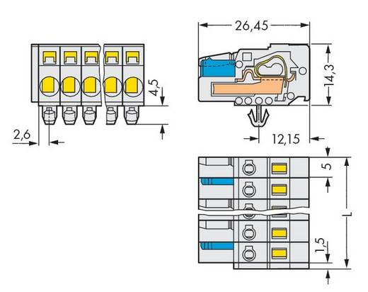Buchsengehäuse-Kabel 721 Polzahl Gesamt 10 WAGO 721-110/008-000/037-000 Rastermaß: 5 mm 25 St.