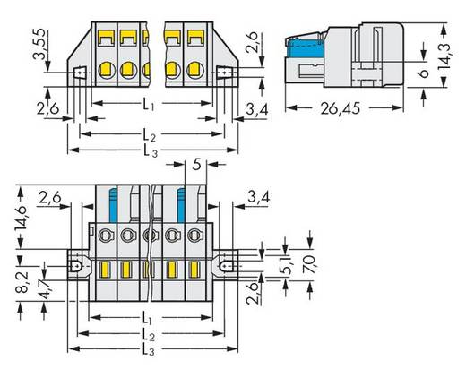 Buchsengehäuse-Kabel 721 Polzahl Gesamt 3 WAGO 721-103/031-000 Rastermaß: 5 mm 50 St.