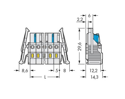 Buchsengehäuse-Kabel 721 Polzahl Gesamt 12 WAGO 721-112/037-000 Rastermaß: 5 mm 25 St.