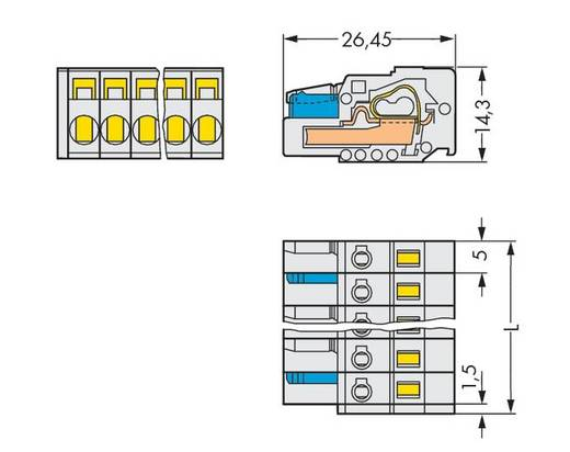 Buchsengehäuse-Kabel 721 Polzahl Gesamt 15 WAGO 721-115/026-000 Rastermaß: 5 mm 25 St.