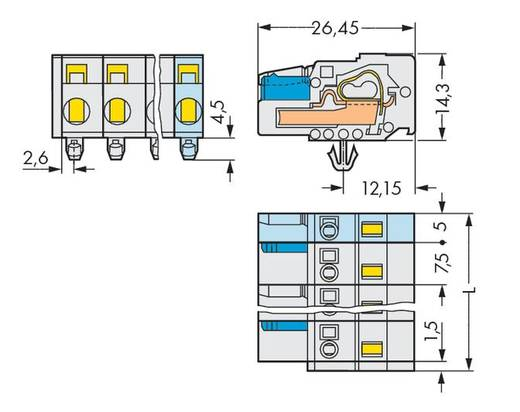 Buchsengehäuse-Kabel 721 Polzahl Gesamt 4 WAGO 721-204/008-000 Rastermaß: 7.50 mm 50 St.