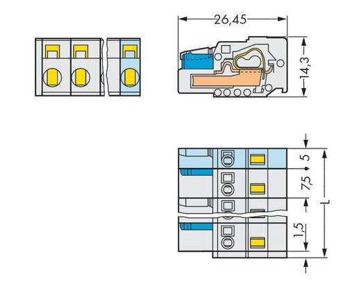 WAGO Buchsengehäuse-Kabel 721 Polzahl Gesamt 2 Rastermaß: 7.50 mm 721-202/026-047 100 St.