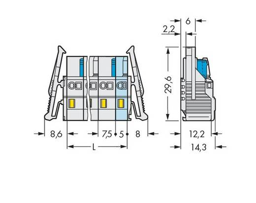 Buchsengehäuse-Kabel 721 Polzahl Gesamt 3 WAGO 721-203/037-000 Rastermaß: 7.50 mm 50 St.
