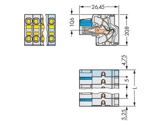 Buchsengehäuse-Kabel 721 Polzahl Gesamt 6 WAGO 721-2106/026-000 Rastermaß: 5 mm 50 St.
