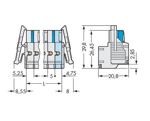Buchsengehäuse-Kabel 721 Polzahl Gesamt 6 WAGO 721-2106/037-000 Rastermaß: 5 mm 50 St.