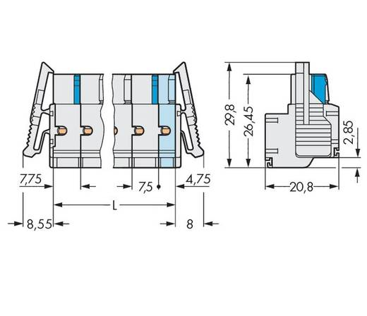 Buchsengehäuse-Kabel 721 Polzahl Gesamt 10 WAGO 721-2210/037-000 Rastermaß: 7.50 mm 25 St.