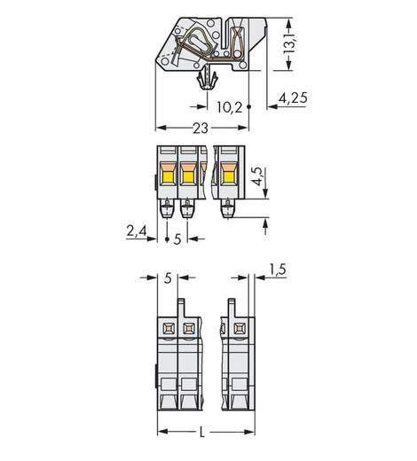 Buchsengehäuse-Kabel 721 Polzahl Gesamt 2 WAGO 721-302/008-000 Rastermaß: 5 mm 100 St.