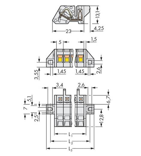 WAGO Buchsengehäuse-Kabel 721 Polzahl Gesamt 3 Rastermaß: 5 mm 721-303/031-000 50 St.