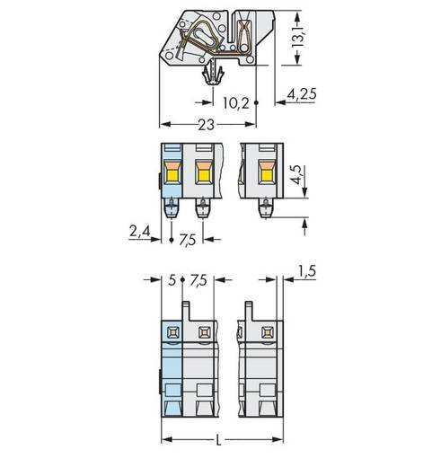 Buchsengehäuse-Kabel 721 Polzahl Gesamt 3 WAGO 721-333/008-000 Rastermaß: 7.50 mm 100 St.