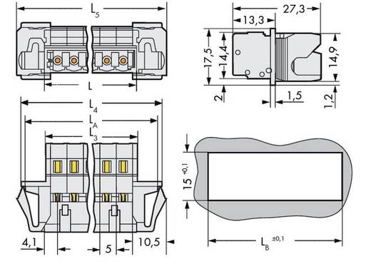 WAGO Stiftleiste (Standard) 2060 Polzahl Gesamt 4 Rastermaß: 5 mm 721-604/114-042 50 St.