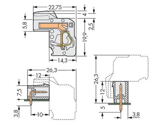 Buchsengehäuse-Kabel 722 Polzahl Gesamt 10 WAGO 722-110/026-000 Rastermaß: 5 mm 50 St.