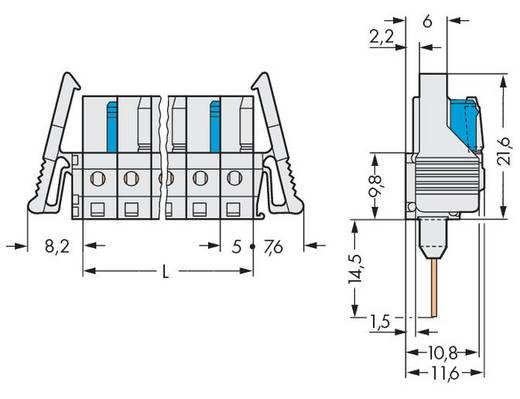 WAGO Buchsengehäuse-Platine 722 Polzahl Gesamt 16 Rastermaß: 5 mm 722-146/005-000/039-000 10 St.
