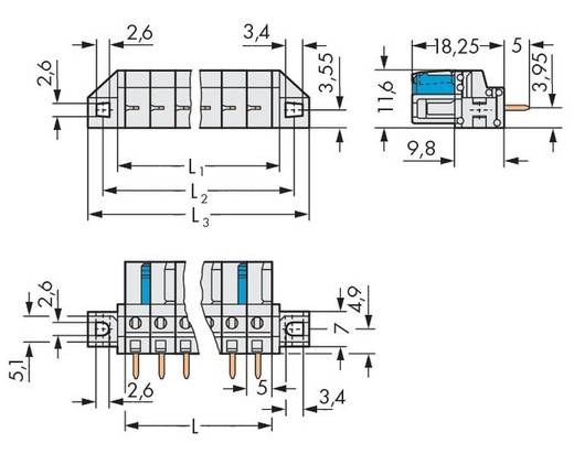 WAGO Buchsengehäuse-Platine 722 Polzahl Gesamt 8 Rastermaß: 5 mm 722-138/031-000 50 St.